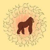Ilustração com gorila e bananas Imagem de Stock Royalty Free