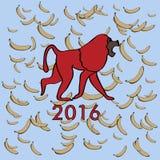Ilustração com macaco e as bananas vermelhos Imagem de Stock