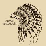 Ilustração com a mantilha do chefe indiano do nativo americano Fotos de Stock