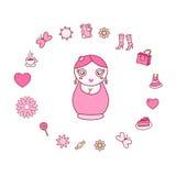 Ilustração com matrioshka da boneca Ilustração Stock