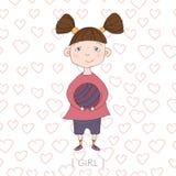 Ilustração com a menina bonito que guarda uma bola Fotos de Stock Royalty Free