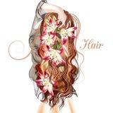 Ilustração com a menina hared longa bonito que está para trás Imagens de Stock Royalty Free
