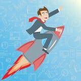 A ilustração com o homem de negócios que monta um foguete vai acima em um fundo azul com ícones em um negócio do tema, o conceito Fotos de Stock