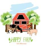 Ilustração com os animais da exploração agrícola Fotografia de Stock Royalty Free