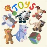 Ilustração com os brinquedos engraçados diferentes Fotografia de Stock