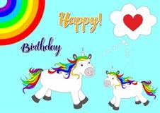 Ilustração com os cavalos bonitos e bonitos - unicórnios ilustração royalty free