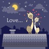 Ilustração com os gatos dos desenhos animados que sentam-se no telhado Foto de Stock