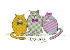 Ilustração com os três gatos gordos engraçados Imagens de Stock Royalty Free