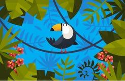 Ilustração com pássaro e folhas Fotografia de Stock