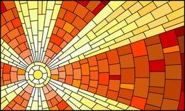 Ilustração com paisagem celestial abstrata, sol do vitral com raios contra o céu ilustração royalty free