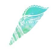Ilustração com shell do mar da garatuja e fundo da aquarela Imagens de Stock Royalty Free