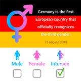 Ilustração com texto, bandeira alemão, homem, fêmea, ícones do intersex ilustração do vetor