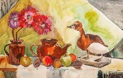 Ilustração com um bule, umas flores, uns frutos e um pato enchido ilustração royalty free