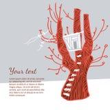 Ilustração com uma árvore vermelha e uma casa na árvore branca Fotografia de Stock