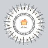 Ilustração com uma casa alaranjada e árvores no fundo cinzento Imagens de Stock Royalty Free