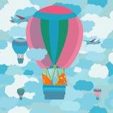 Ilustração com uma raposa manhoso em um balão Foto de Stock