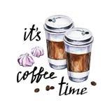 Ilustração com xícaras de café descartáveis, merengue da aquarela Imagens de Stock Royalty Free