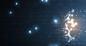 Ilustração conceptual da tecnologia da inteligência artificial Fundo futurista abstrato ilustração royalty free