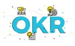 Ilustração conceptual das palavras OKR, resultado chave objetivo ilustração royalty free
