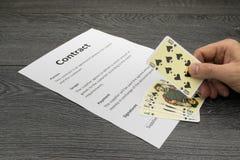 Ilustração conceptual de ganhar ou de obter o contrato Foto de Stock Royalty Free