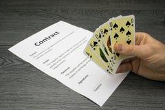 Ilustração conceptual de ganhar ou de obter o contrato Imagem de Stock Royalty Free