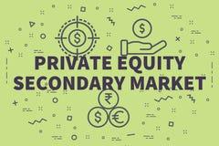 Ilustração conceptual do negócio com a equidade privada s das palavras ilustração stock