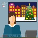 Ilustração conceptual no tema de feriados de inverno com um j Foto de Stock Royalty Free