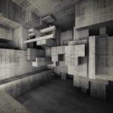 Ilustração concreta vazia abstrata do interior 3d Foto de Stock Royalty Free