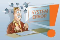 Ilustração conservada em estoque do vetor Homem de negócios engraçado que trabalha em um computador Sistemas de segurança da rede Fotografia de Stock Royalty Free