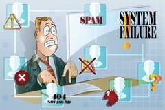 Ilustração conservada em estoque do vetor Homem de negócios engraçado que trabalha em um computador Sistemas de segurança da rede Fotos de Stock
