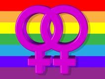 Ilustração conservada em estoque dos símbolos lésbicas Fotografia de Stock