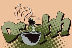Ilustração conservada em estoque Estilo de pop art e da banda desenhada velha A mão derramou o pó Fotografia de Stock Royalty Free