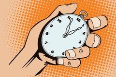 Ilustração conservada em estoque Estilo de pop art e da banda desenhada velha Relógios à disposição ilustração do vetor
