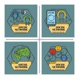 Ilustração conservada em estoque Infographic liso Rede social Fotos de Stock Royalty Free