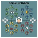 Ilustração conservada em estoque Infographic liso Rede social Fotografia de Stock Royalty Free