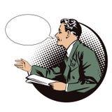 Ilustração conservada em estoque Povos no pop art retro do estilo e na propaganda do vintage Homens com o jornal Bolha do discurs Fotografia de Stock Royalty Free