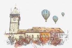 Ilustração Construções históricas bonitas com as telhas vermelhas no telhado e na torre de pulso de disparo no quadrado em Praga ilustração stock