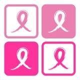 Ilustração cor-de-rosa do vetor das fitas da conscientização do câncer da mama Imagens de Stock