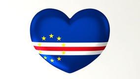 ilustração Coração-dada forma da bandeira 3D eu amo Cabo Verde ilustração royalty free