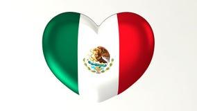 ilustração Coração-dada forma da bandeira 3D eu amo México ilustração do vetor