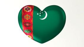 ilustração Coração-dada forma da bandeira 3D eu amo Turquemenistão ilustração royalty free