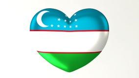 ilustração Coração-dada forma da bandeira 3D eu amo Usbequistão ilustração royalty free