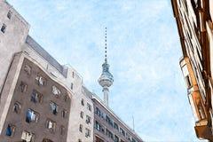 Ilustração criativa - Berlin Television Tower, perspectiva de uma rua do centro, com construções históricas ilustração do vetor