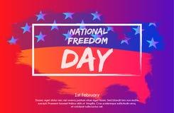 Ilustração criativa com efeito na moda, cartaz ou bandeira do inclinação do dia nacional da liberdade! - 1º de fevereiro Imagem de Stock