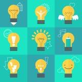 Ilustração criativa da ideia ajustada com lâmpadas diferentes Fotografia de Stock