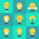 Ilustração criativa da ideia ajustada com lâmpadas diferentes Imagens de Stock