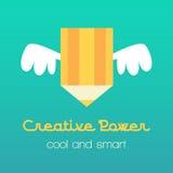 Ilustração criativa da ideia com lápis e asas Fotos de Stock