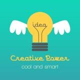 Ilustração criativa da ideia com lâmpada e asas Foto de Stock Royalty Free