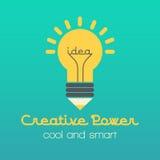 Ilustração criativa da ideia com lâmpada e lápis Foto de Stock Royalty Free