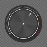 Ilustração criativa de ajustes da tecnologia do nível do botão do seletor, botão do metal da música com o processamento circular  fotografia de stock
